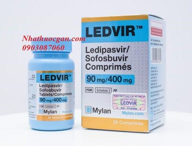 Ledvir hoạt chất Ledipasvir 90mg, Sofosbuvir 400mg, hộp 28 Viên