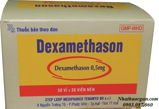 dexamethasone thuoc nhom thuoc corticosteroid (glucocorticoid), gia thuoc bao nhieu