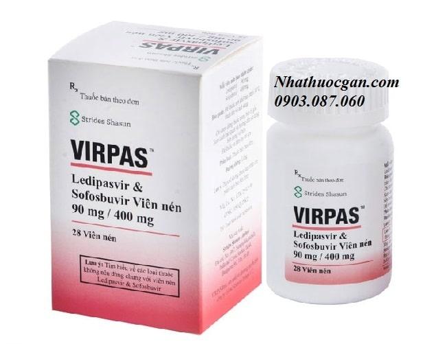 Virpas hoạt chất Ledipasvir 90mg, Sofosbuvir 400mg, hộp 28 viên