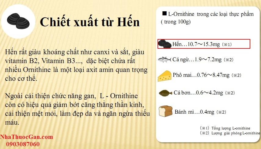 hen rat giau khoang chat nhu canxi va sat giau vitamin b2 vitamin b3 dac biet chua rat nhieu ornithine